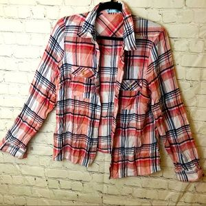 Maurices pink white and black plaid button down